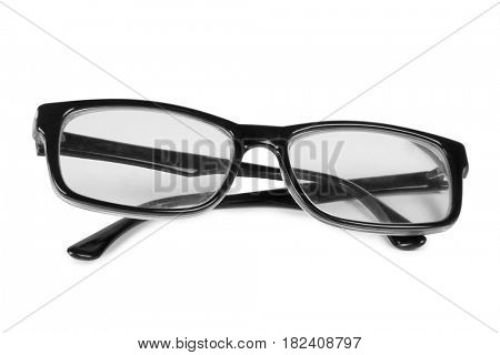 Glasses in a plastic frame on a white background