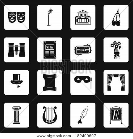 Theater icons set in white squares on black background simple style vector illustration