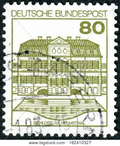GERMANY - CIRCA 1982: A stamp printed in Germany shows the Wilhelmsthal Castle circa 1982