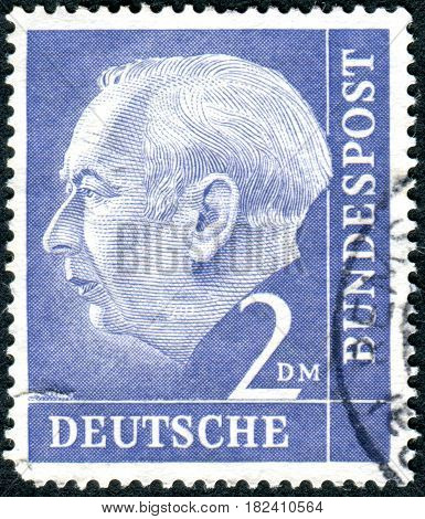 GERMANY - CIRCA 1954: A stamp printed in Germany shows the 1st President of the Federal Republic of Germany Prof. Dr. Theodor Heuss circa 1954