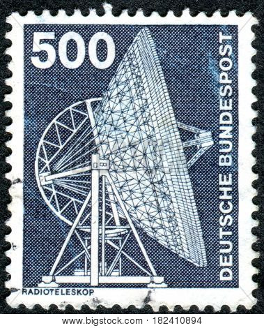 GERMANY - CIRCA 1976: A stamp printed in Germany shows a Radio telescope circa 1976