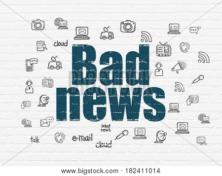 News concept: Painted blue text Bad News on White Brick wall background with  Hand Drawn News Icons