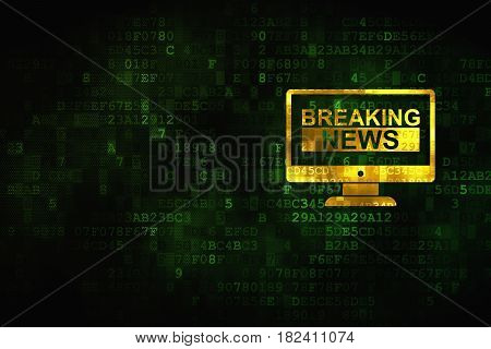 News concept: pixelated Breaking News On Screen icon on digital background, empty copyspace for card, text, advertising