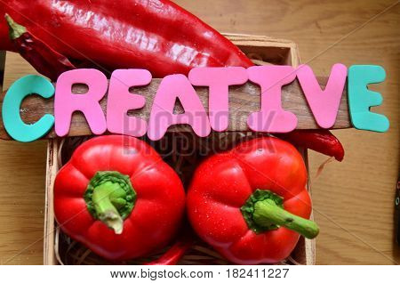 word creative on a  abstract colorful background