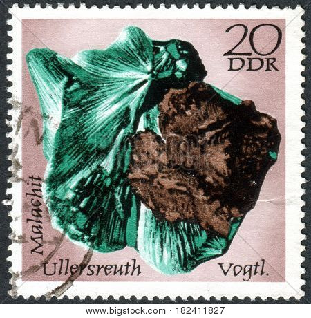 GERMANY - CIRCA 1972: A stamp printed in Germany (GDR) shows the minerals found in East Germany: Malachite Ullersreuth circa 1972
