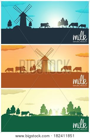 Set Of Milk Banners. Milk Natural Product. Rural Landscape With Mill And Cows. Dawn In The Village.