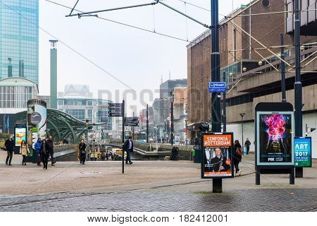 ROTTERDAM, Netherlands - February 7, 2017 : Street view of Rotterdam City Netherlands. back to 1270 when a dam was constructed in the Rotte river by people settled around it for safety.