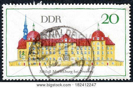 GERMANY - CIRCA 1968: A stamp printed in Germany (GDR) shows a Moritzburg Castle near Dresden circa 1968