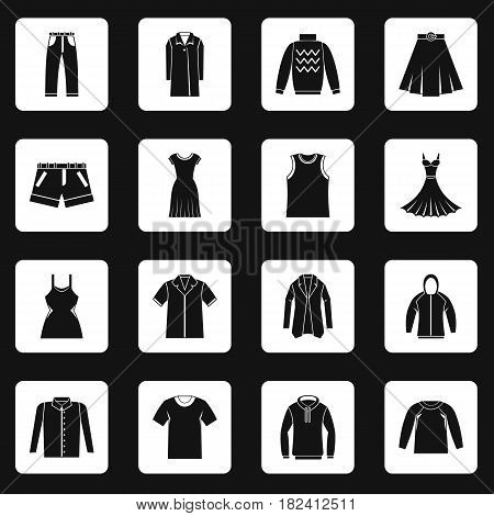 Different clothes icons set in white squares on black background simple style vector illustration