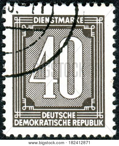 GERMANY - CIRCA 1954: A stamp printed in Germany (GDR) shows the face value circa 1954