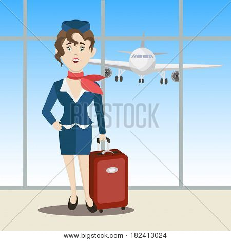 Cute stewardess standing. Vector illustration EPS 10