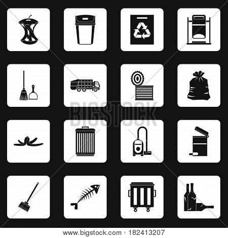 Garbage thing icons set in white squares on black background simple style vector illustration