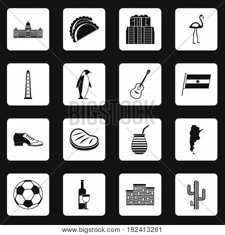 Argentina travel items icons set in white squares on black background simple style vector illustration