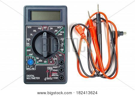 Digital multimeter with red and black probes isolated on white background