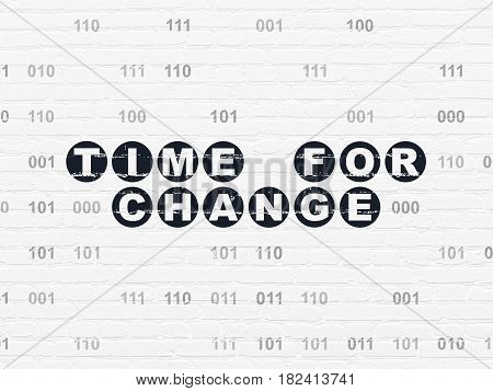 Time concept: Painted black text Time for Change on White Brick wall background with Binary Code