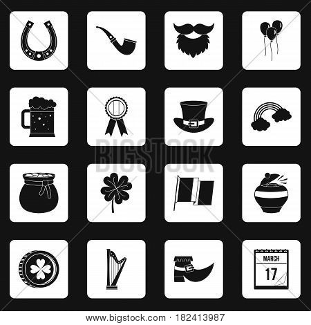 Saint Patrick icons set in white squares on black background simple style vector illustration
