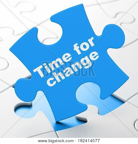 Time concept: Time for Change on Blue puzzle pieces background, 3D rendering