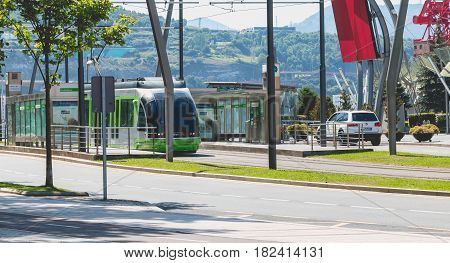 Tramway Stops At A Station In The City Of Bilbao, Spain