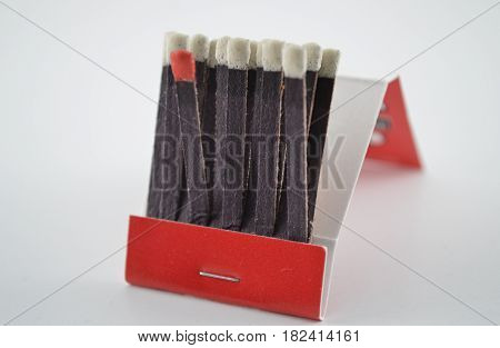 Red match in a group of matches
