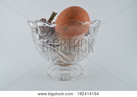 Misc. potpourri in a clear glass vase