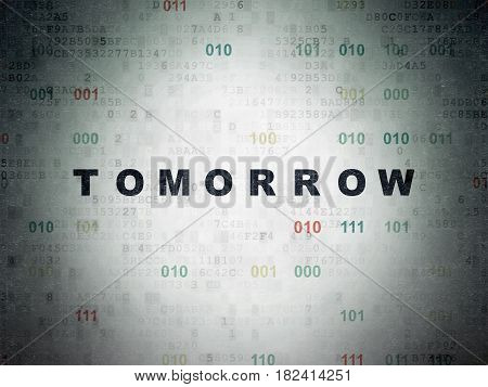Time concept: Painted black text Tomorrow on Digital Data Paper background with Binary Code