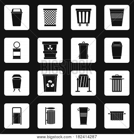 Garbage container icons set in white squares on black background simple style vector illustration