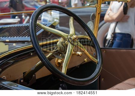 car Interior - steering wheel shift lever and dashboard