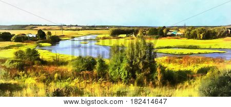 Colorful painting of landscape with Moskva river, Mozhaysk, Moscow region, Russia