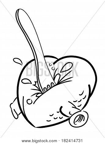 Cartoon image of heart stabbed by fork. An artistic freehand picture.