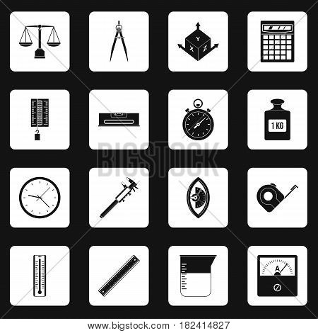 Measure precision icons set in white squares on black background simple style vector illustration