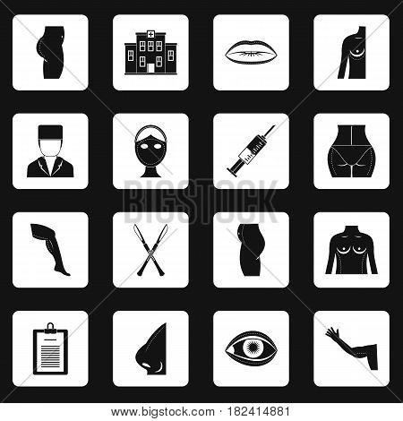 Plastic surgeon icons set in white squares on black background simple style vector illustration