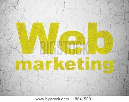 Web development concept: Yellow Web Marketing on textured concrete wall background