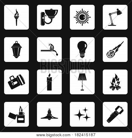 Light source symbols icons set in white squares on black background simple style vector illustration