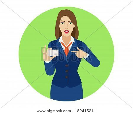 Businesswoman pointing on business card. Portrait of businesswoman character in a flat style. Vector illustration.