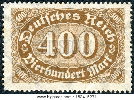 GERMANY - CIRCA 1923: A stamp printed in Germany (Deutsches Reich) shows a face value circa 1923