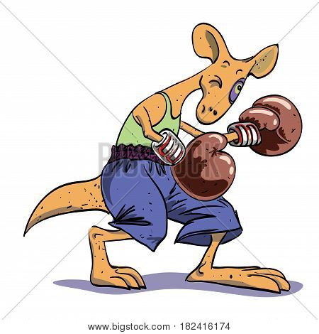 Cartoon image of boxing kangaroo. An artistic freehand picture.