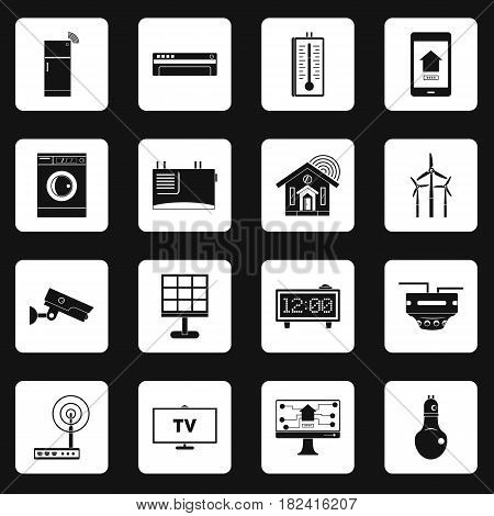 Smart home house icons set in white squares on black background simple style vector illustration