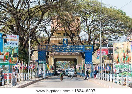 Tachileik, Myanmar - Feb 26 2015: Myanmar-thailand Bridge. The Town Of Tachileik Is A Major Border C