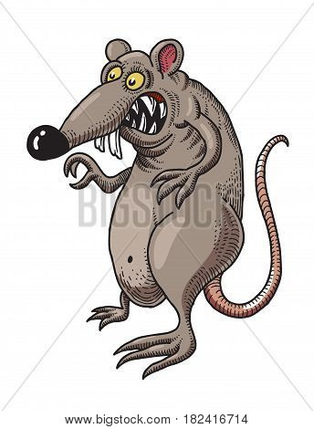 Cartoon image of evil rat. An artistic freehand picture.