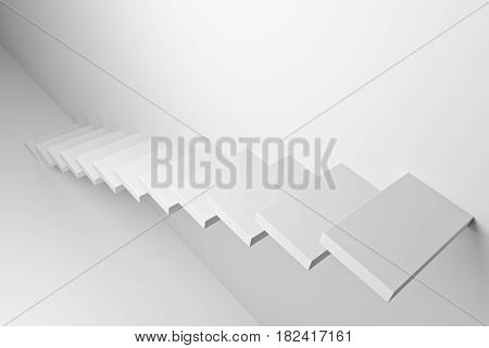 White ascending stairs of rising staircase going upward top diagonal view abstract white 3d illustration. Business growth progress way and forward achievement creative concept