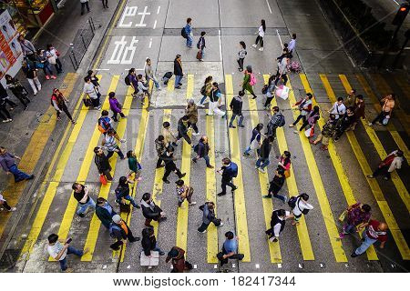 Street At Koowlon District In Hong Kong