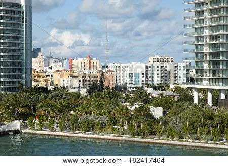 The view through skyscrapers of Miami Beach resort district (Florida).
