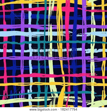Vector seamless pattern brush cross and cell. yellow blue pink color on black background. Hand painted grange texture. Ink geometric elements. Fashion modern style. Endless fantasy plaid fabric print