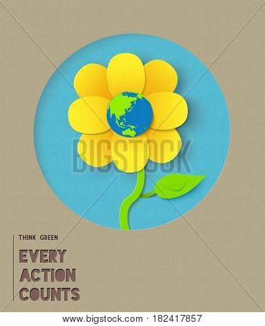 Happy Earth Day Paper Flower Illustration Quote