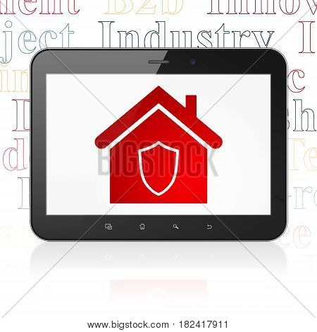 Finance concept: Tablet Computer with  red Home icon on display,  Tag Cloud background, 3D rendering
