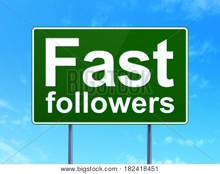 Business concept: Fast Followers on green road highway sign, clear blue sky background, 3D rendering