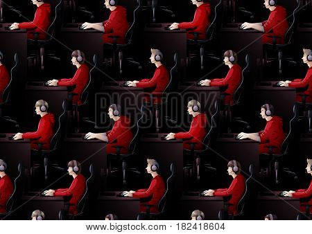 Young men sitting at the table and playing computer. Side view. Cyber sport concept. Vector seamless pattern