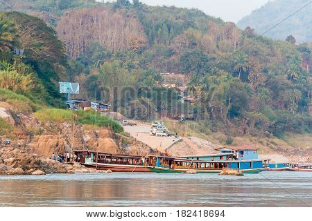 Pakbeng, Laos - Mar 03 2015: Slow Boat Cruise On The Mekong River. Popular Tourist Adventure Trip By