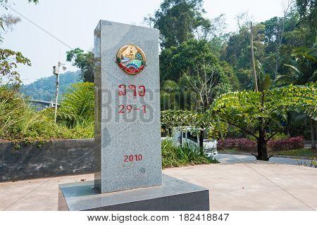 Boten, Laos - Mar 08 2015: Laos - China Border Marker Between Boten, Luang Namtha Province, Laos And