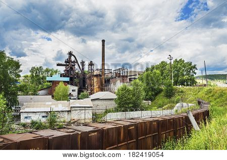 PASHIYA PERM KRAI RUSSIA - JULY 12 2016: Pashiyskiy metallurgical-cement plant was founded in 1785